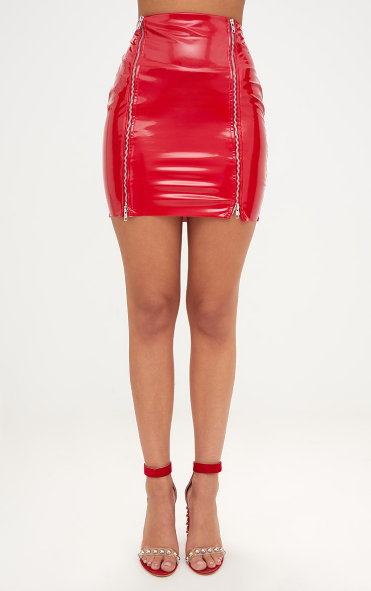 Red Vinyl Double Zip Mini Skirt 2