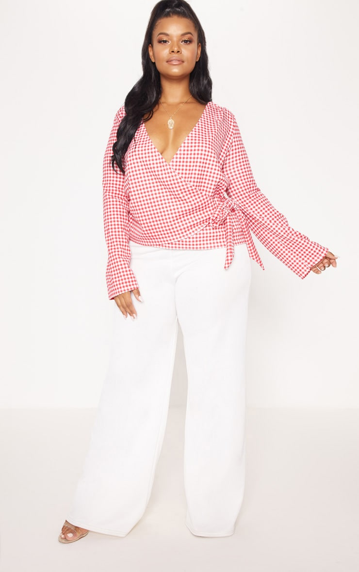 Plus Red Gingham Wrap Top 4