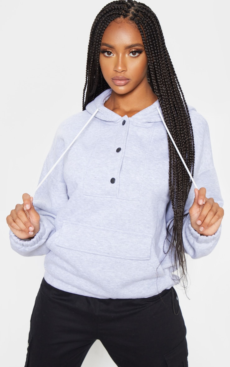 Grey Pocket Button Front Oversized Hoodie 1