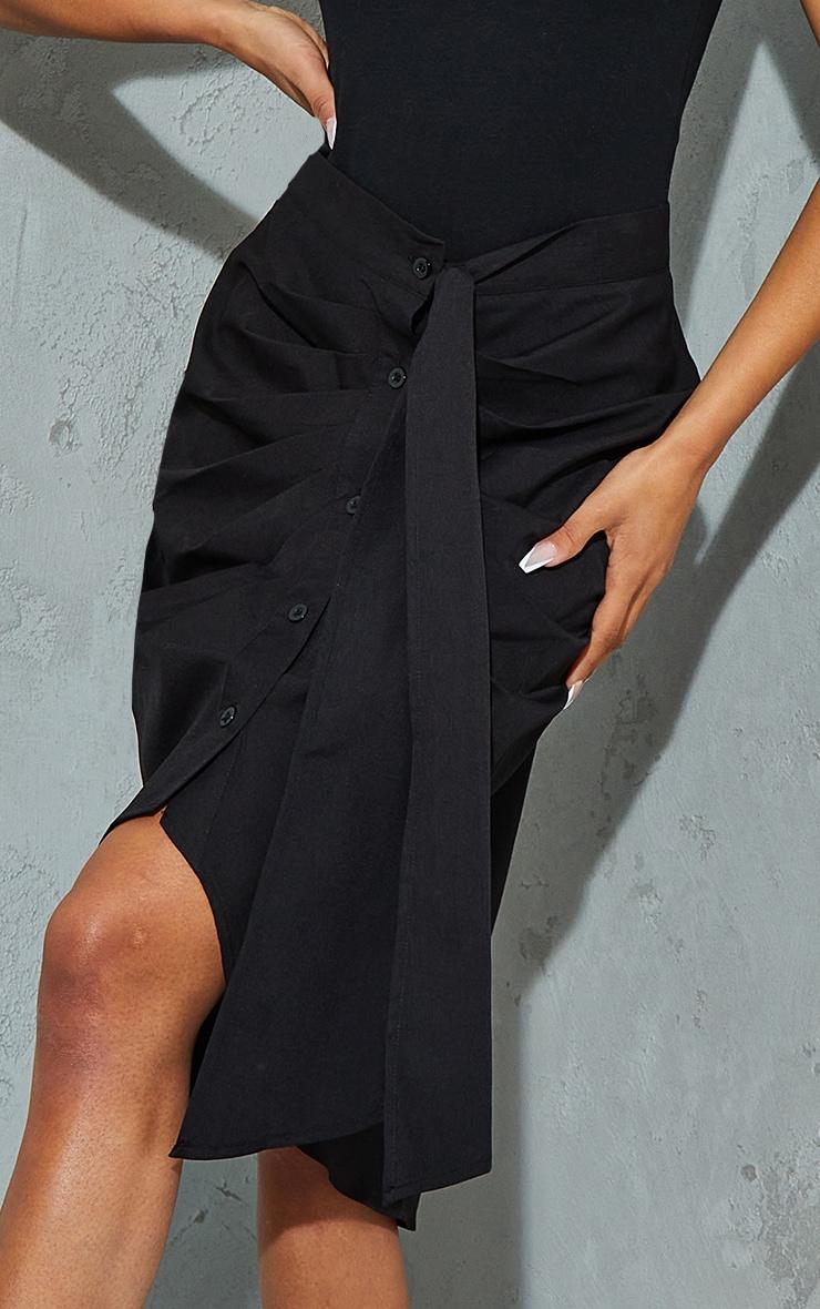 Black Foldover Button Through Midi Skirt 4