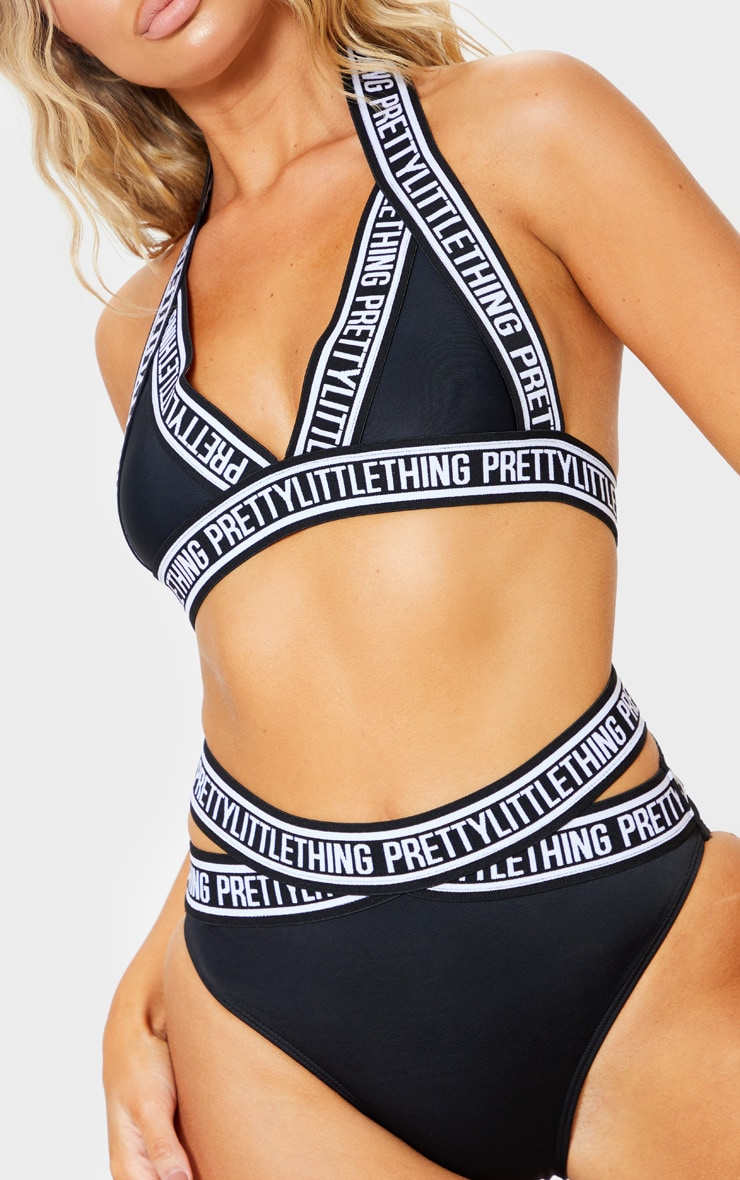 Black PRETTYLITTLETHING Strap Triangle Bikini Top 6