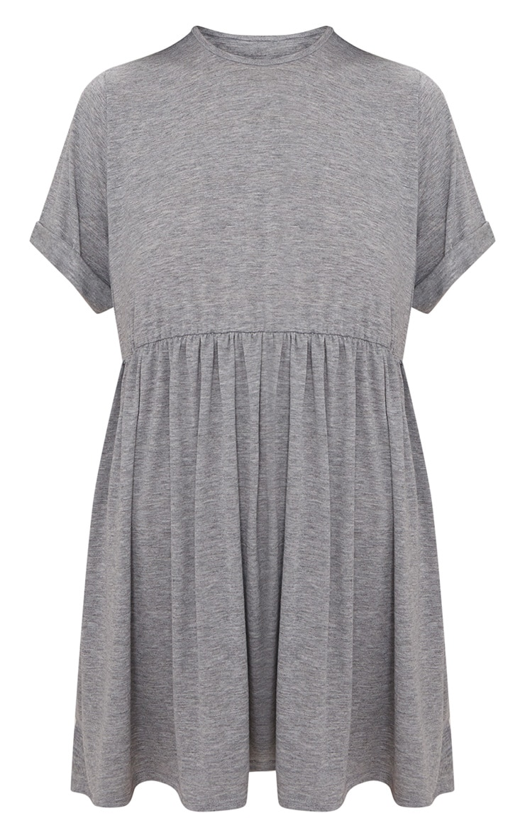 Grey Marl Jersey Oversized Smock Dress 3