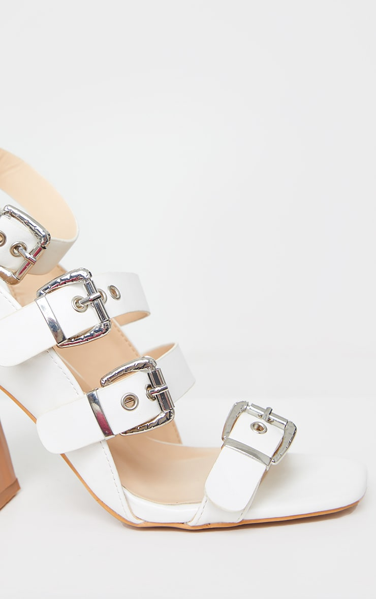 White Block Heel Multi Buckle Sandals 3