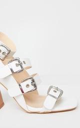 White Block Heel Multi Buckle Sandals 3
