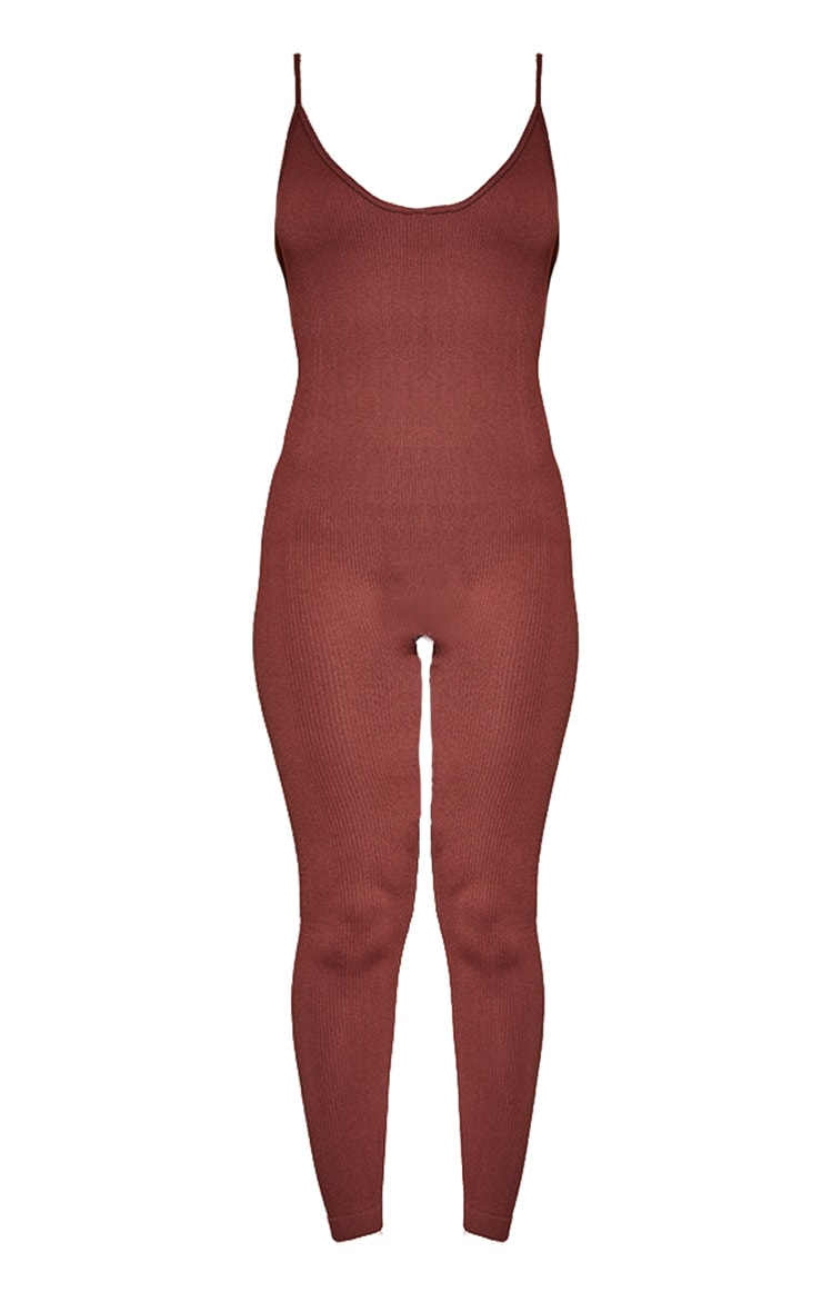 Chocolate Structured Contour Rib Strappy Plunge Jumpsuit 5