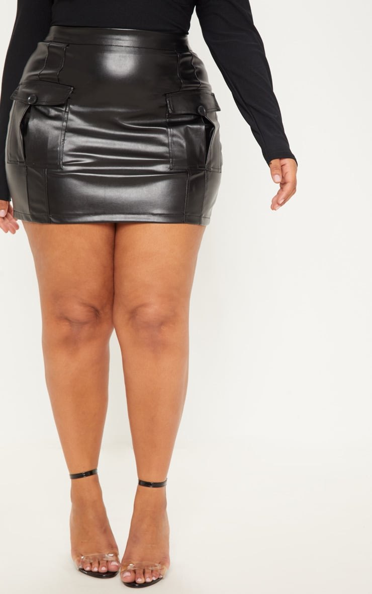 Plus Black Faux Leather Cargo Pocket Front Mini Skirt 3