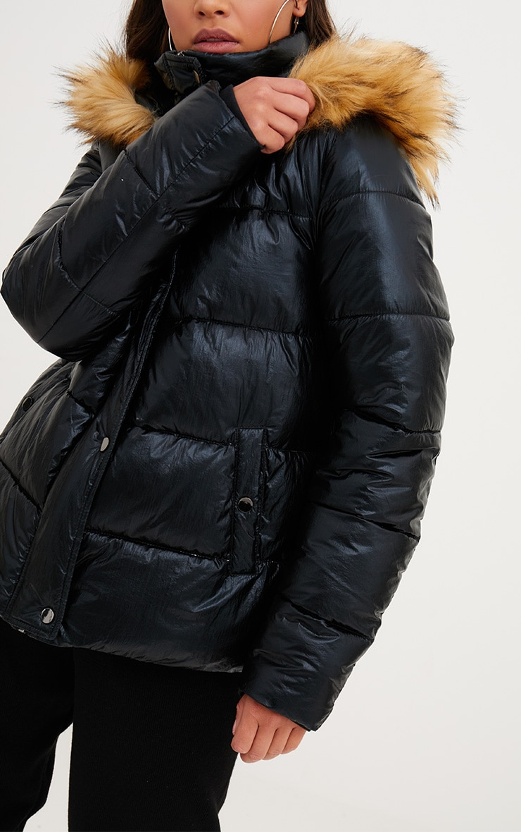Black Foil Puffer Jacket With Faux Fur Hood 5