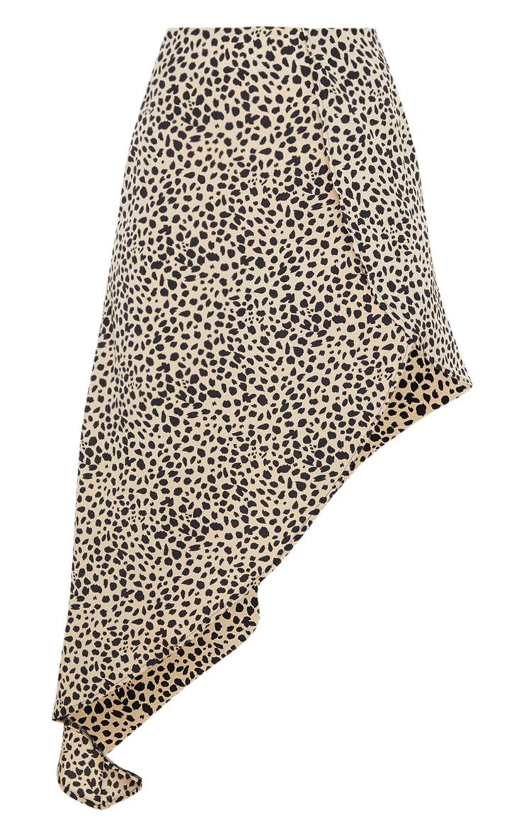 Black Dalmatian Print Satin Asymmetric Midi Skirt 5
