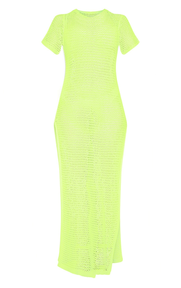 Neon Lime Stripe Detail Ladder Knitted Midaxi Dress  3