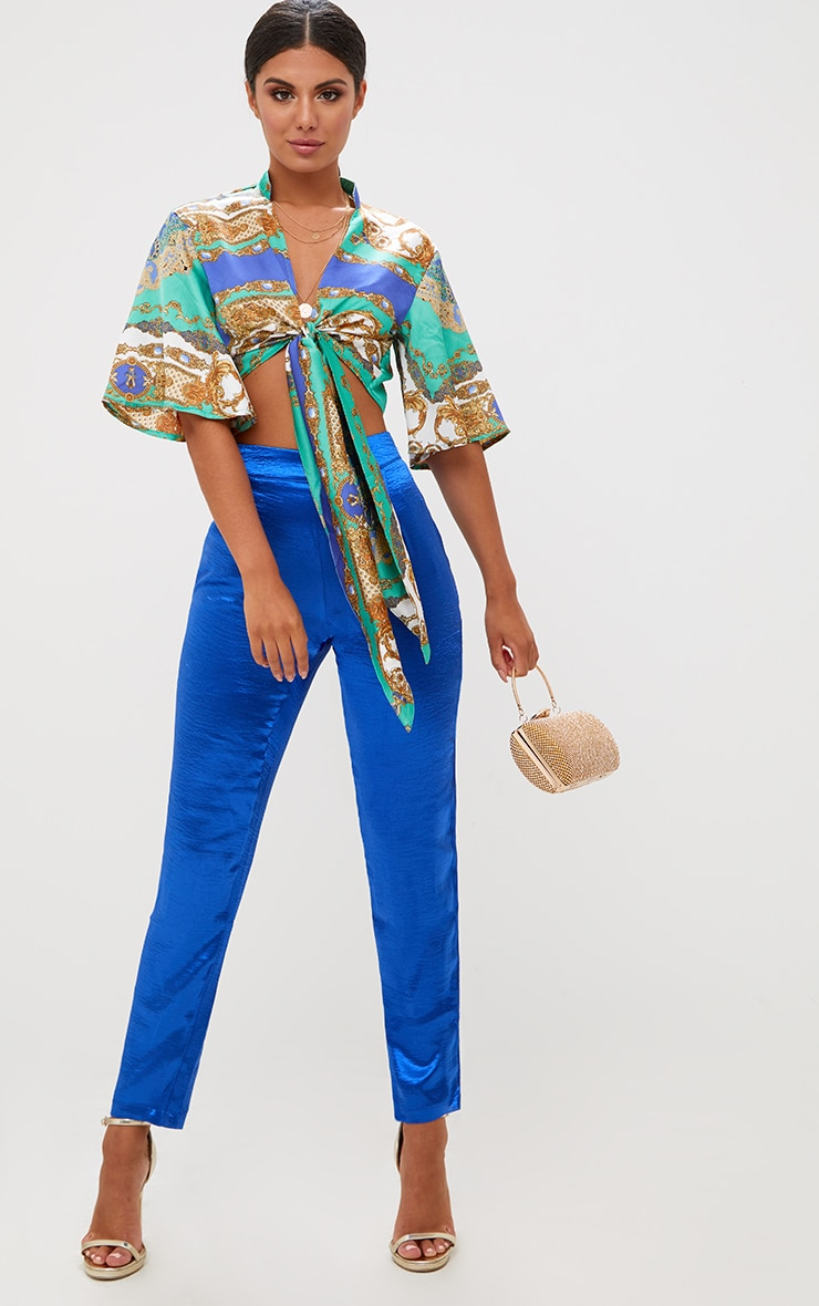 Blue Scarf Print Flare Sleeve Tie Front Crop Top 4