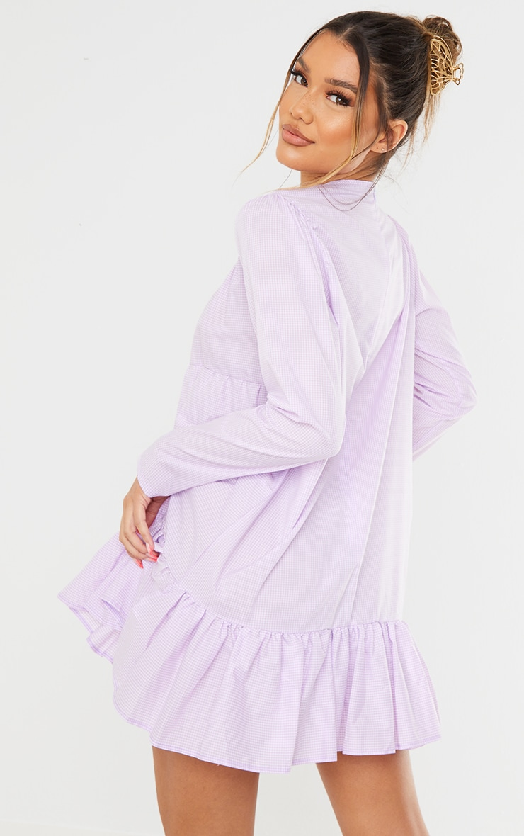Lilac Gingham Tiered Hem Long Sleeve Shift Dress 2