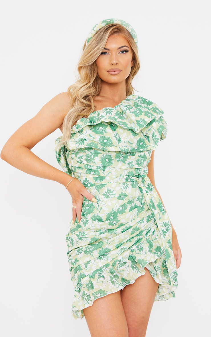 Green Floral Print One Shoulder Ruched Frill Bodycon Dress 1