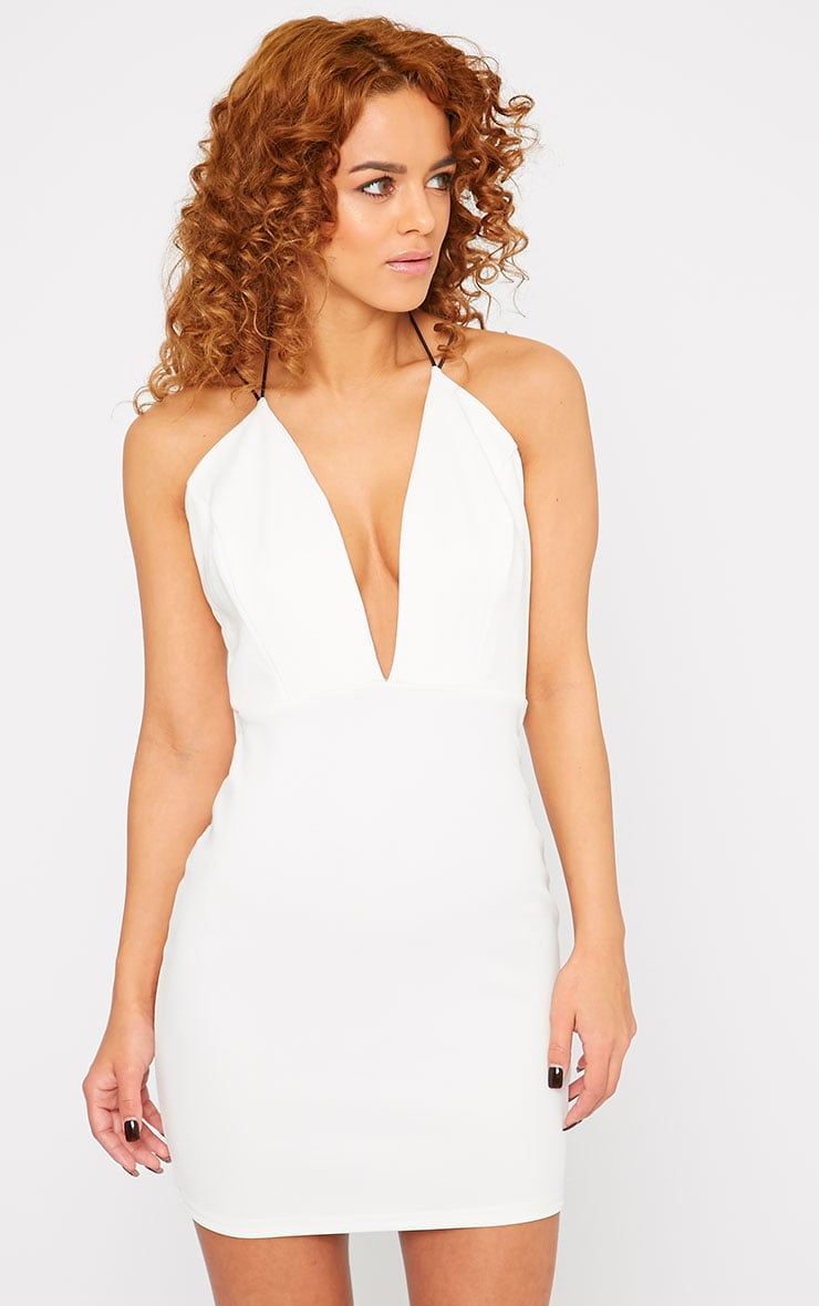 Gisele White Plunge Dress 3