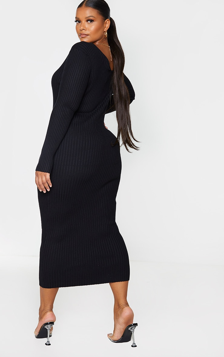 Plus Black Off Shoulder Rib Knitted Midaxi Dress 2