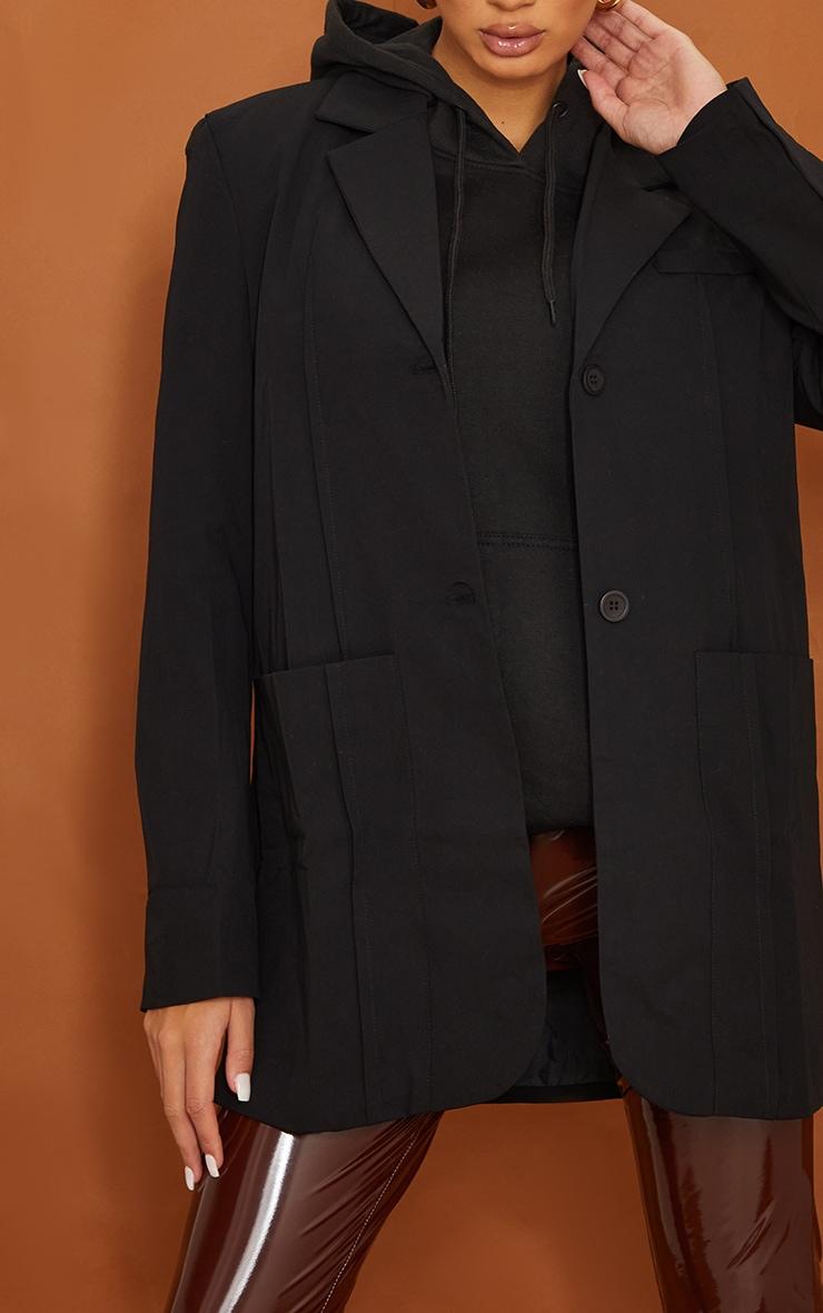 Tall   Black Shoulder Pad Oversized Dad Blazer 4