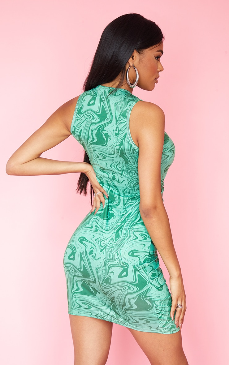 Green Marble Print Slinky Ruched Zip Through Racer Neck Bodycon Dress 2