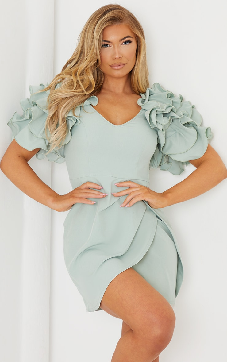 Sage Green Frill Sleeve V Neck Bodycon Dress 1