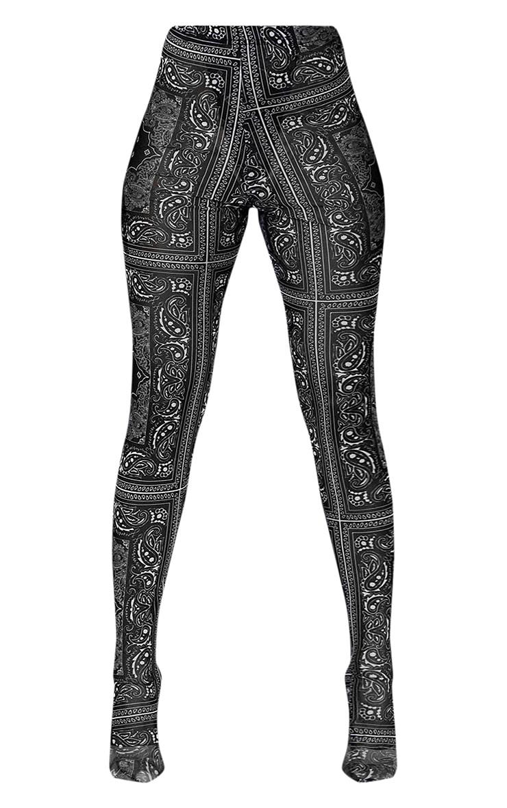 Black Paisley Printed Mesh Sock Leggings 6