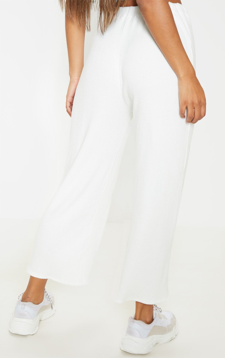 Cream Brushed Rib Wide Leg Culotte 4