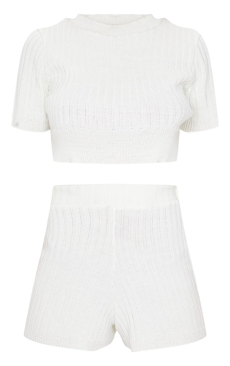 Cream Wide Rib Knitted Short Set 5