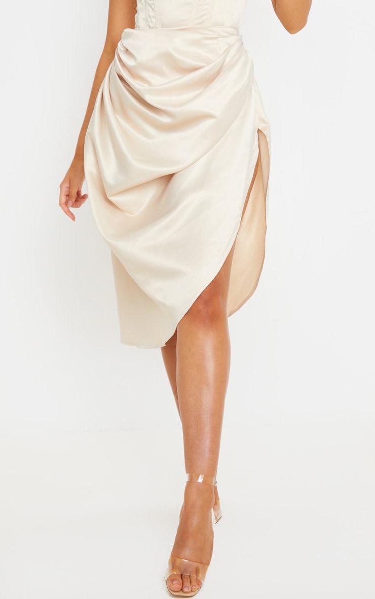 Cream Satin Woven Ruched Side Midi Skirt 2