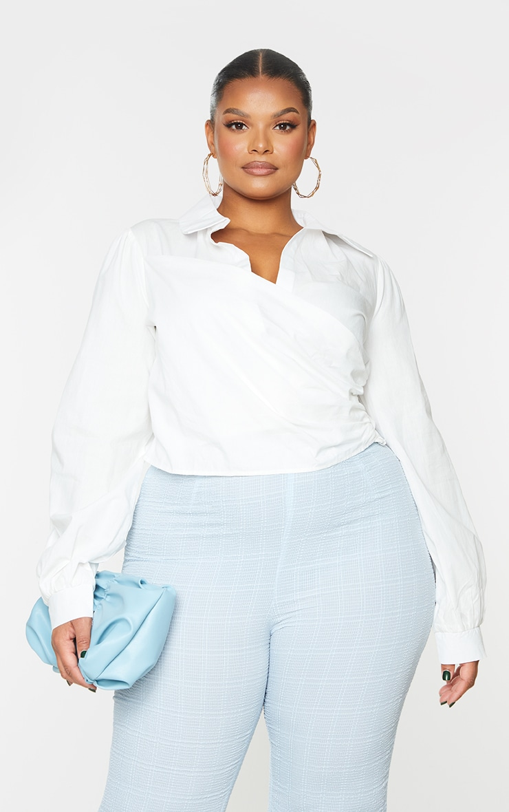 Plus White Woven Wrap Front Cropped Blouse 3