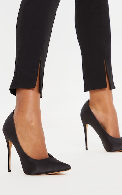 Black Satin Court Shoes