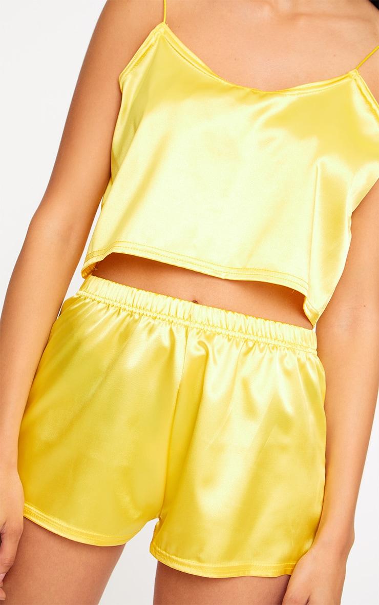 Yellow Satin Pyjama Shorts Set 5