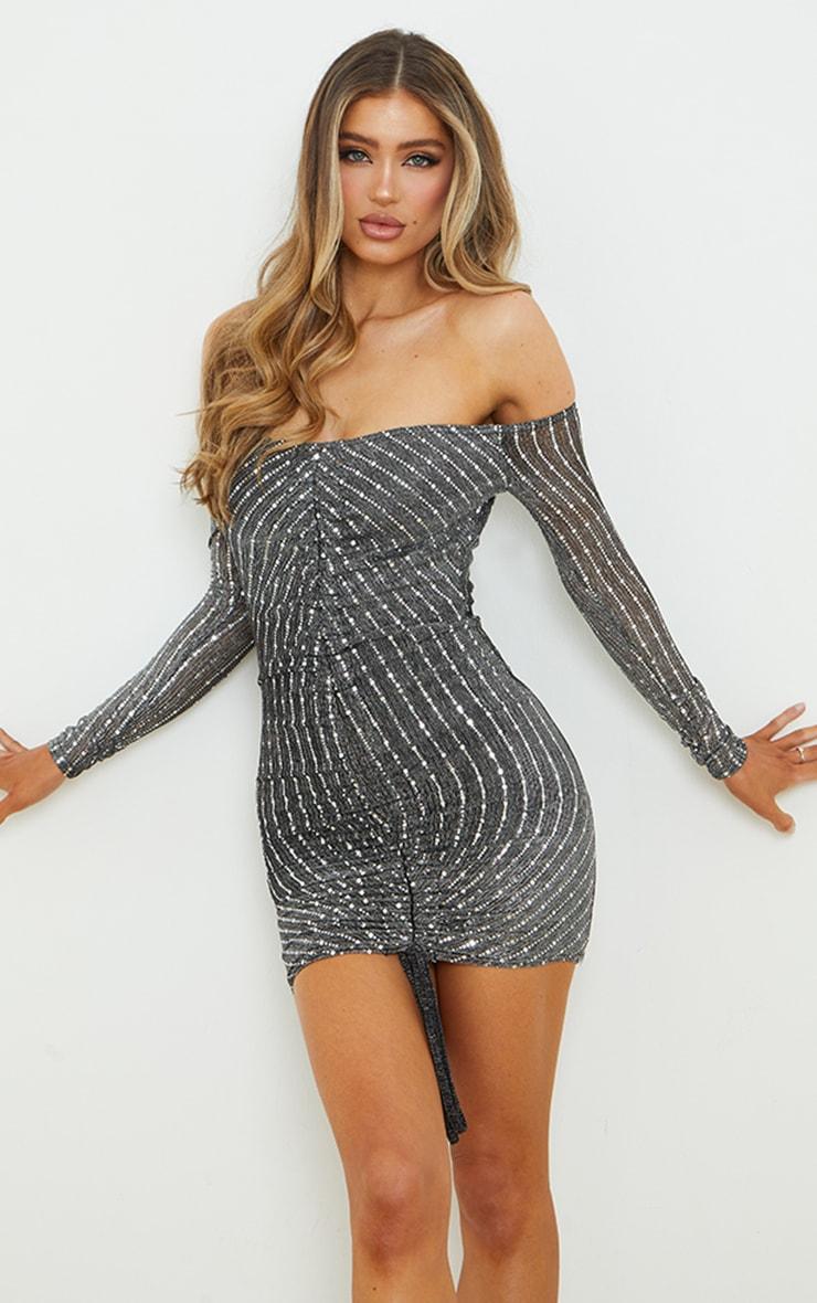 Black Glitter Mesh Ruched Bardot Bodycon Dress 1