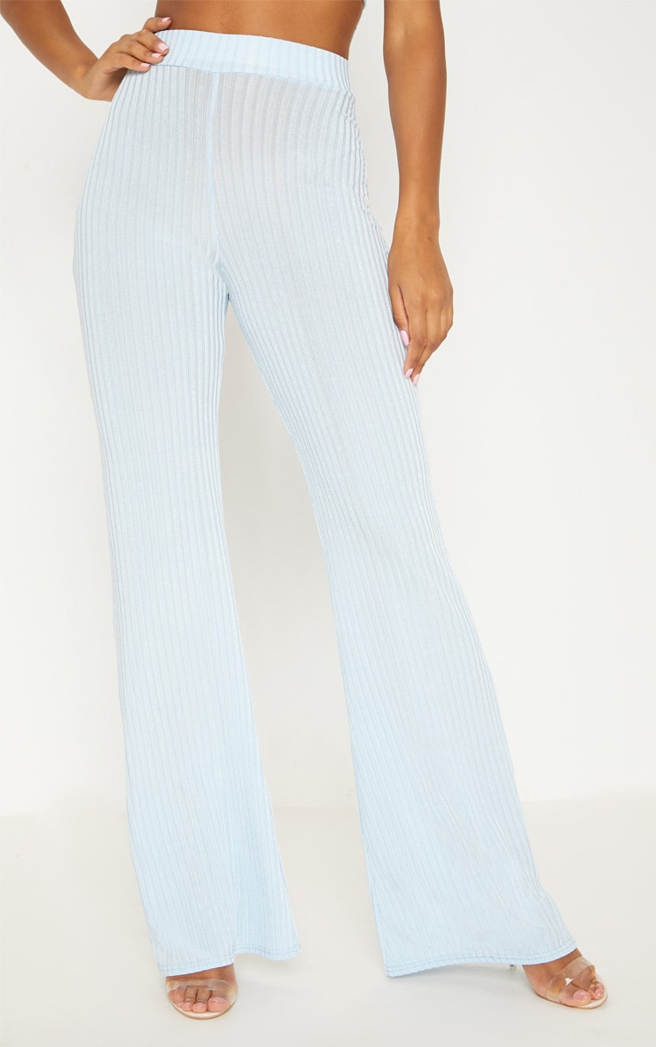 Pale Blue Rib Wide Leg Trousers 2
