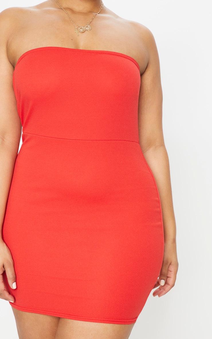 Plus Red Bandeau Bodycon Dress 5