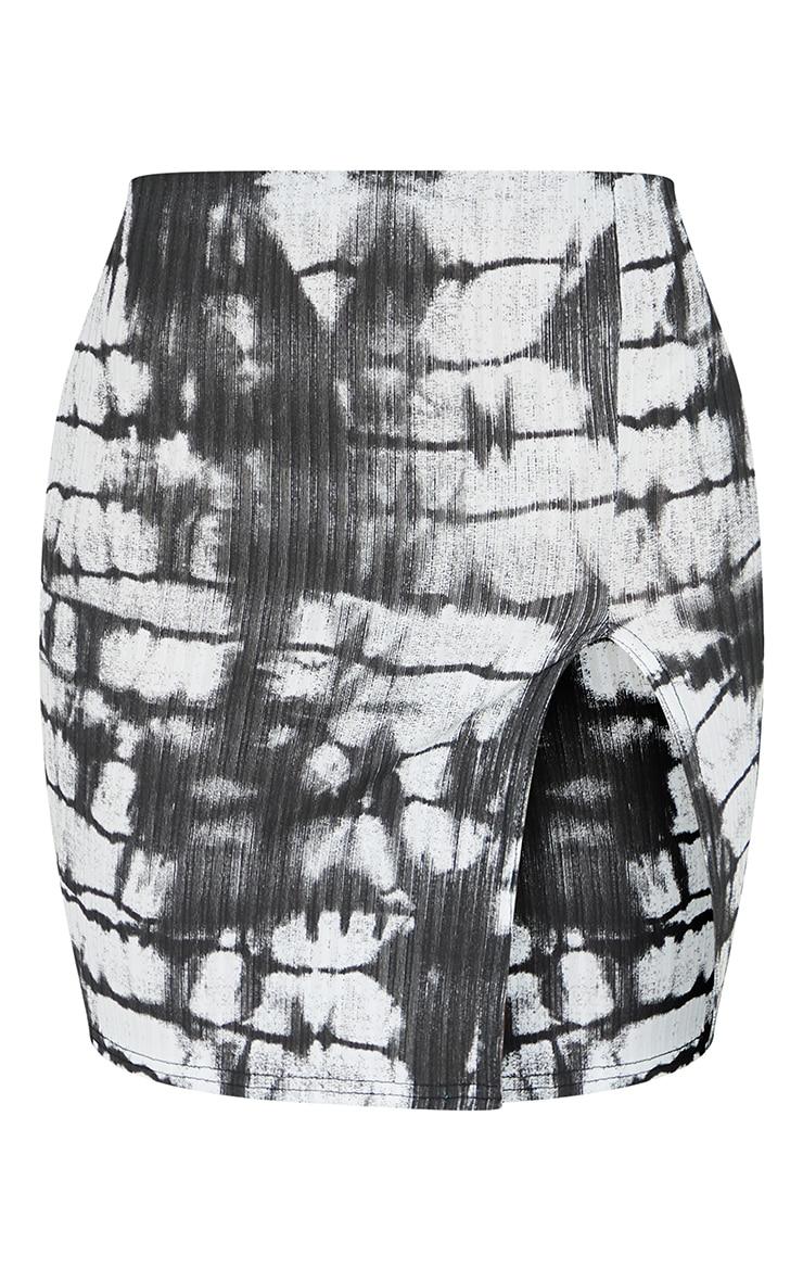 Black Tie Dye Rib Split Front Mini Skirt 6