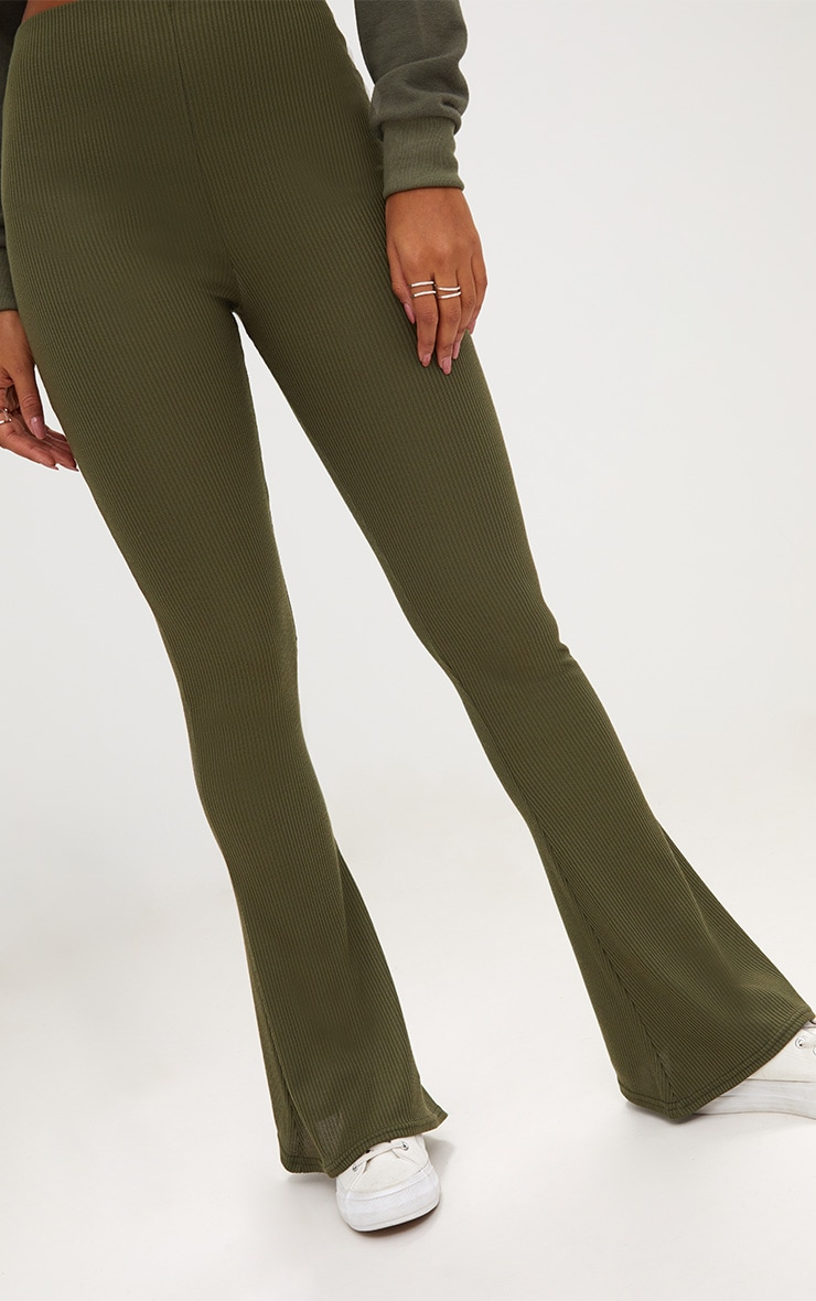 Khaki Ribbed Flared Trousers 5