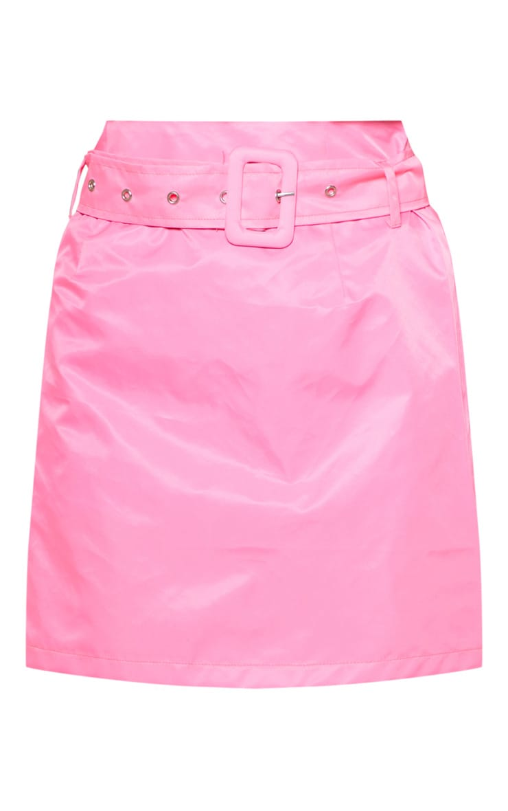 Pink Neon Shell Belted Waist Mini Skirt 3