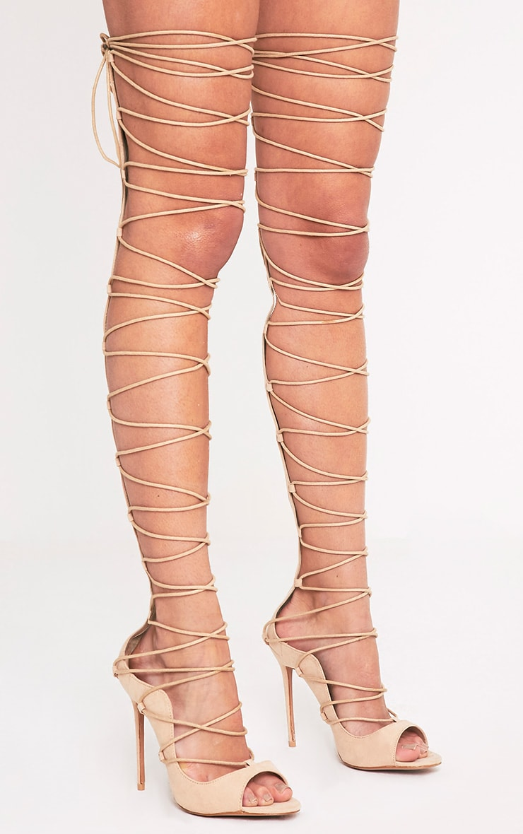 Colleen Nude Thigh High Lace Up Heeled Sandals 1