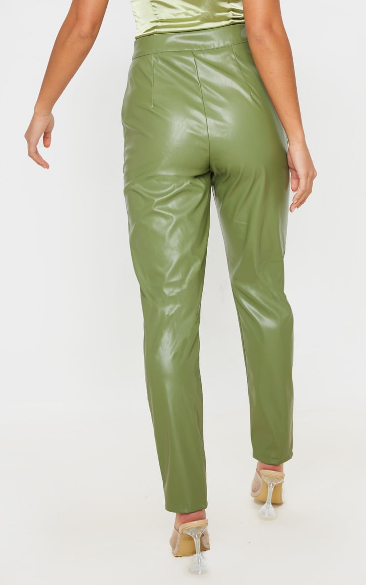 Petite Khaki Seam Detail PU Straight Pants 4
