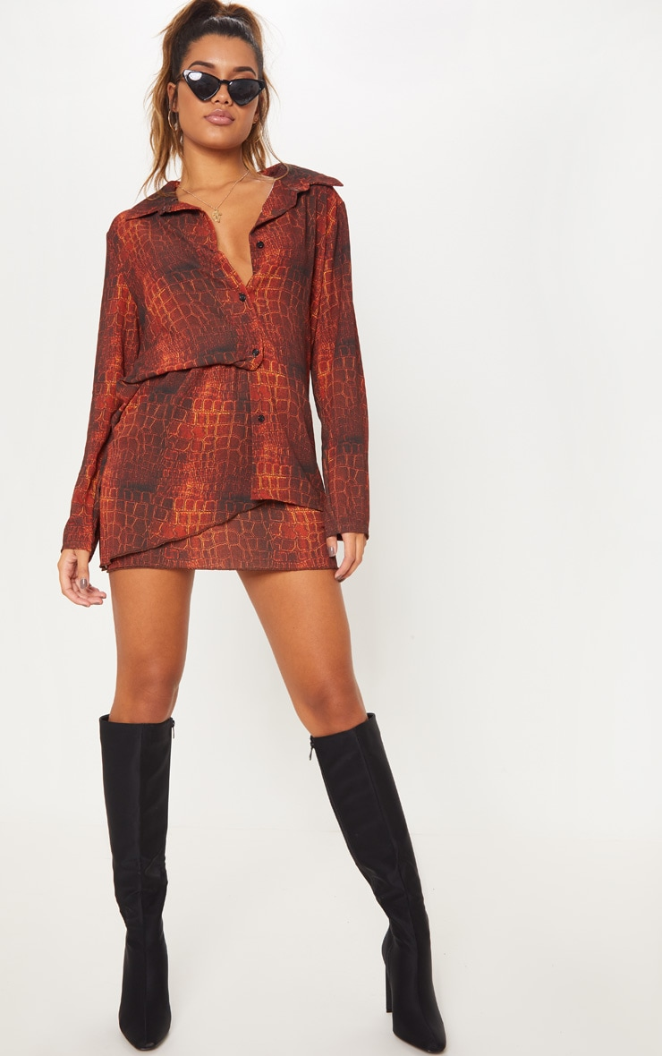 Brown Croc Print Wrap Mini Skirt 1