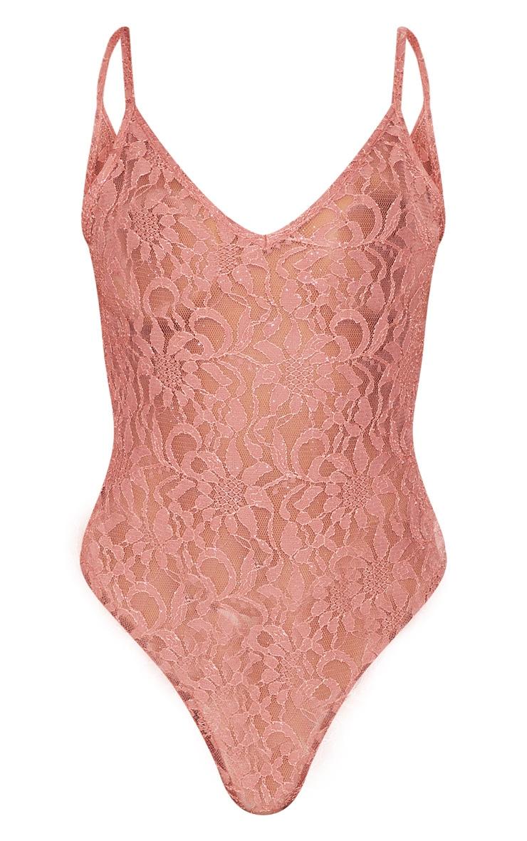Pink Glitter Lace Bodysuit 3