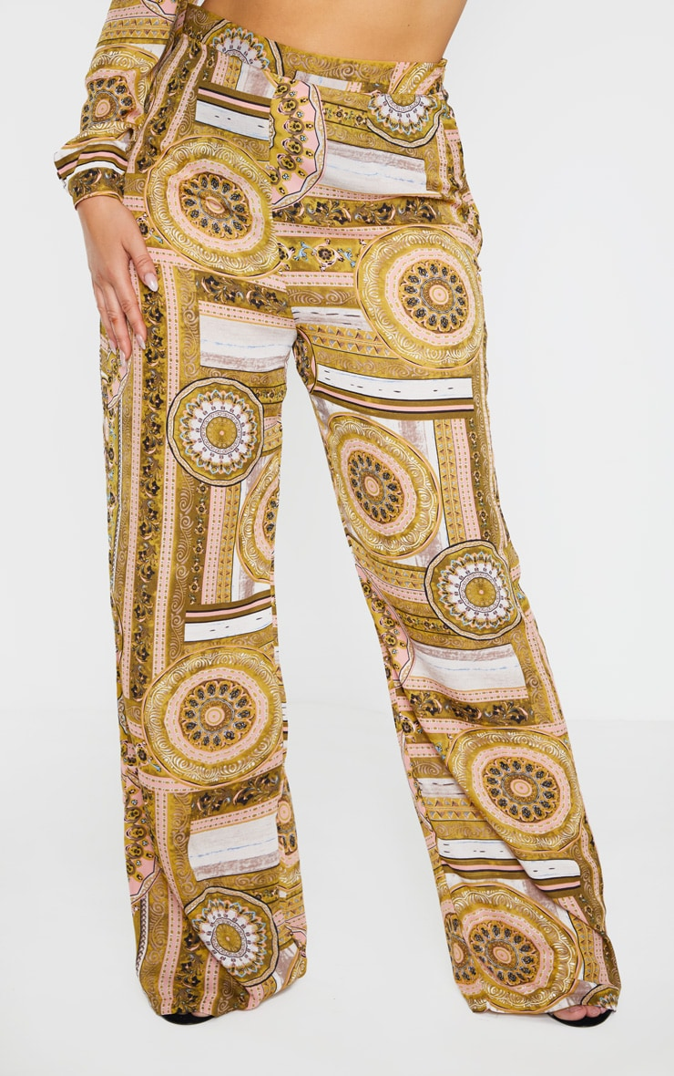 Plus Multi Chain Print Wide Leg Trouser  2