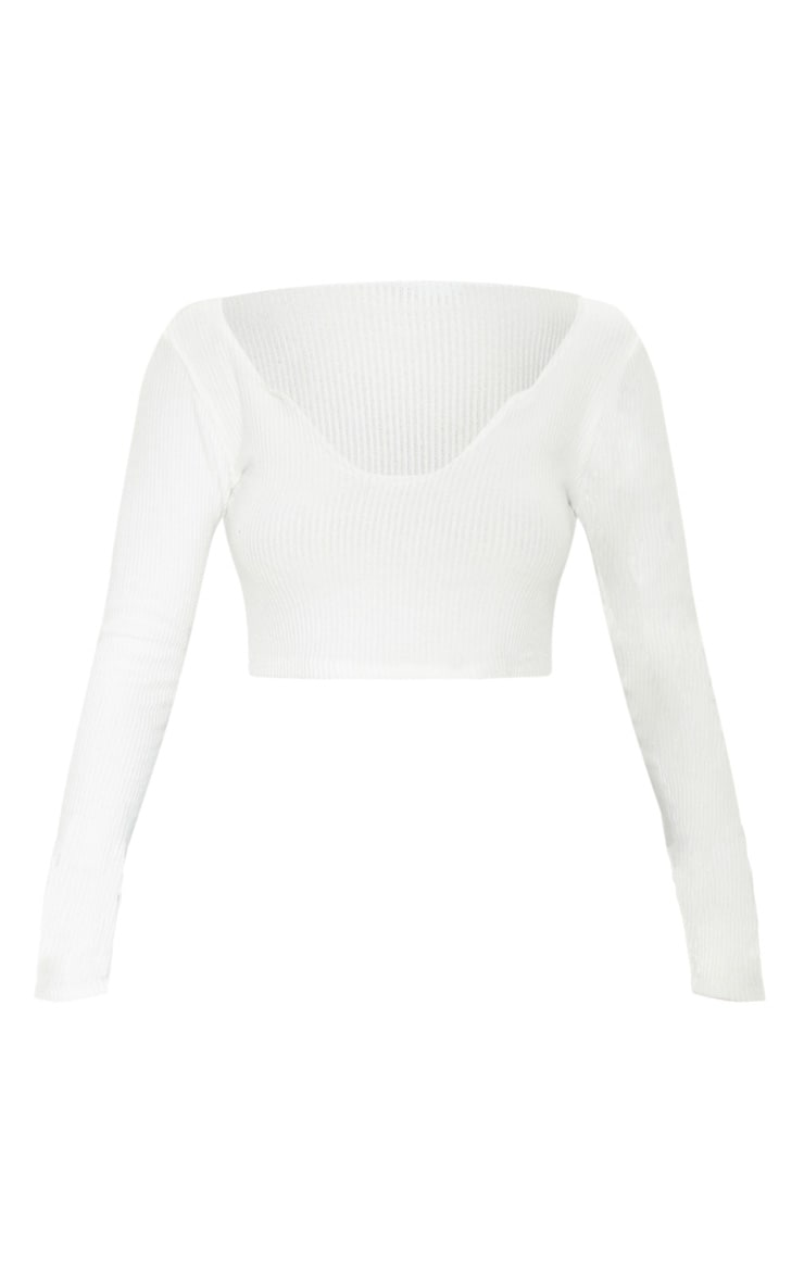 White Brushed Rib V Detail Crop Top 1