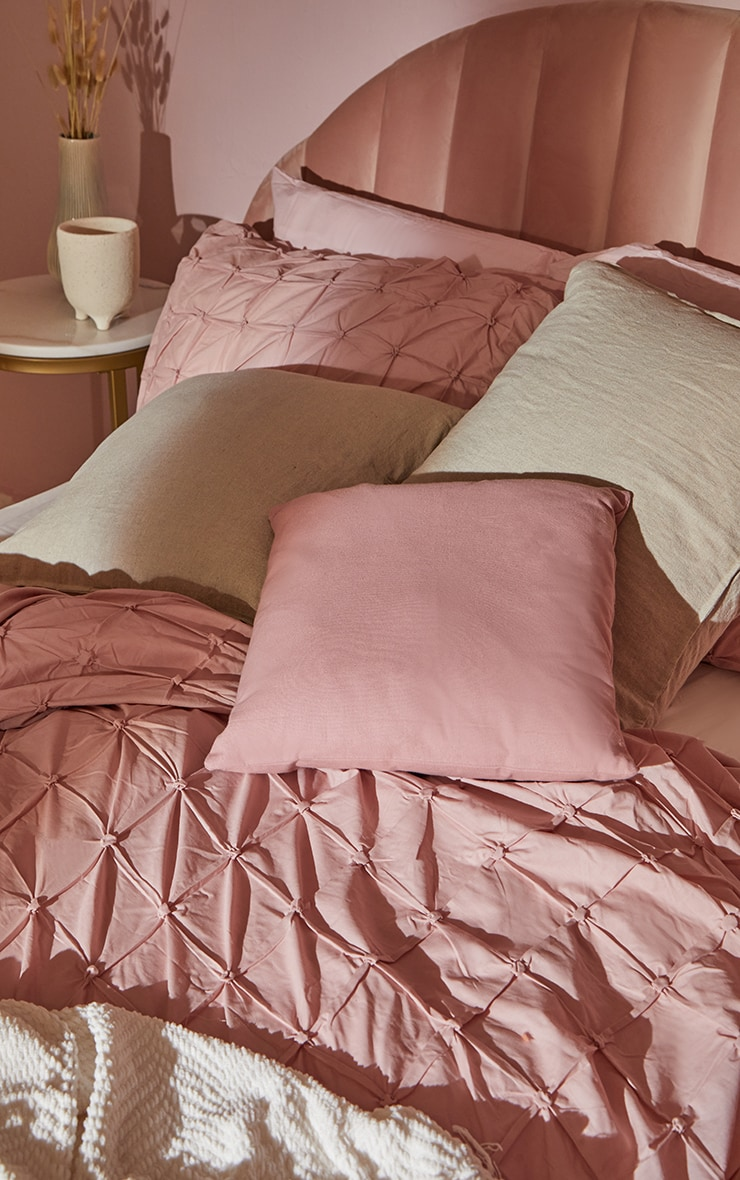 Dusty Pink Ruched Pin Tuck Double Duvet Set 2