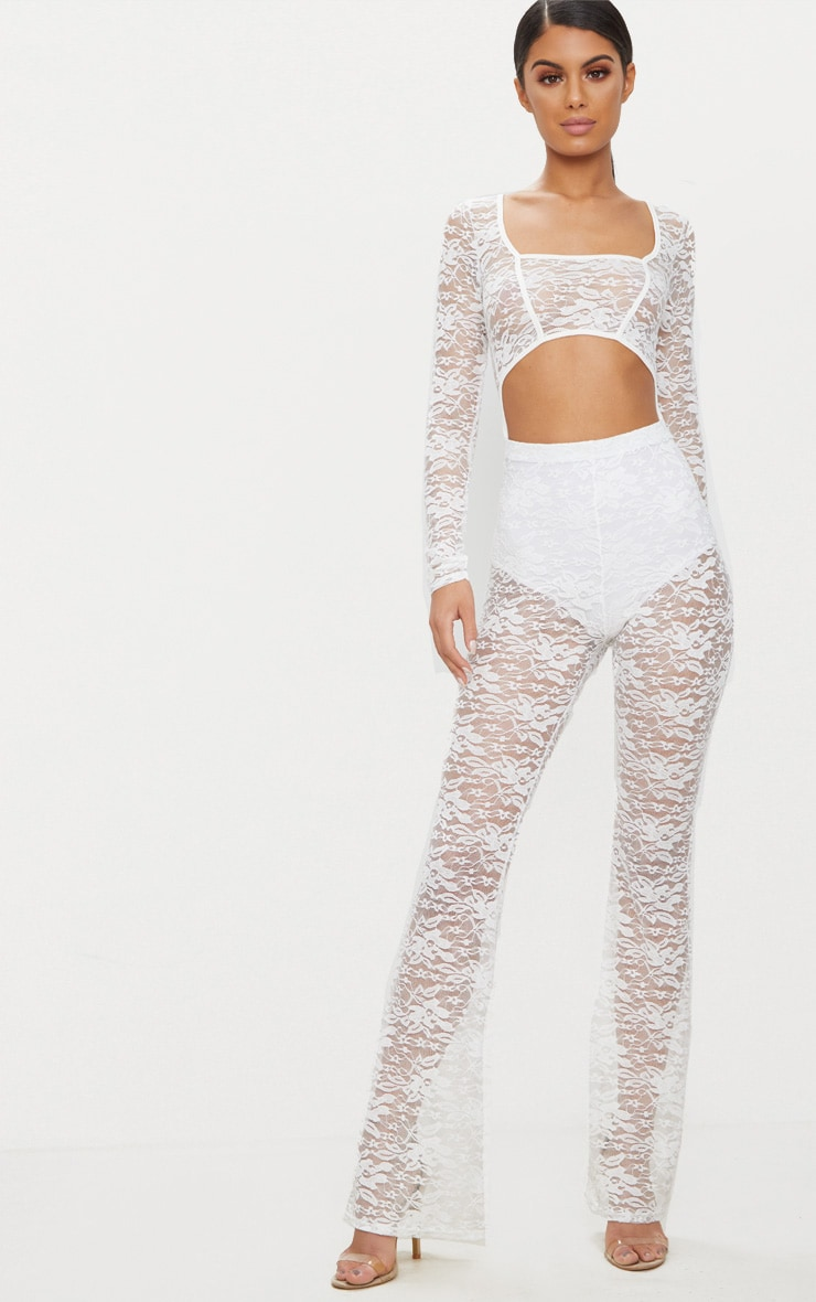 White Lace Long Sleeve Binded Jumpsuit 1
