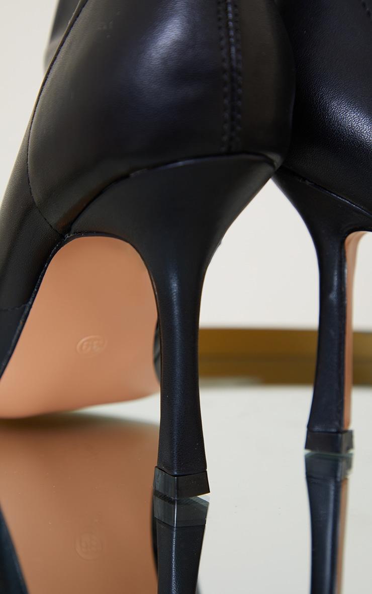 Black PU Mid Heel Square Toe Ankle Boots 4