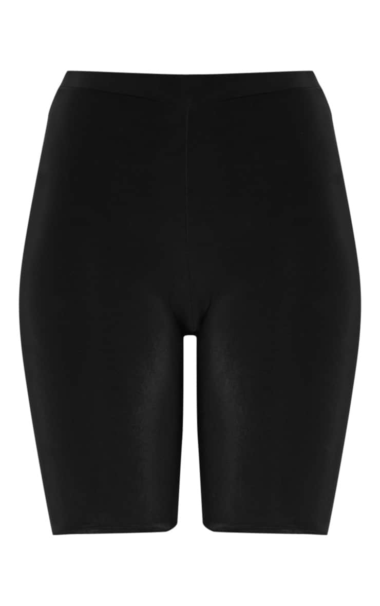 Tall Black Slinky High Waisted Bike Shorts 3