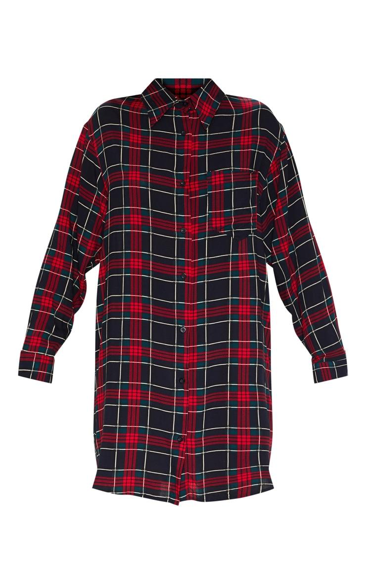 Robe chemise noire à carreaux oversized style boyfriend 3