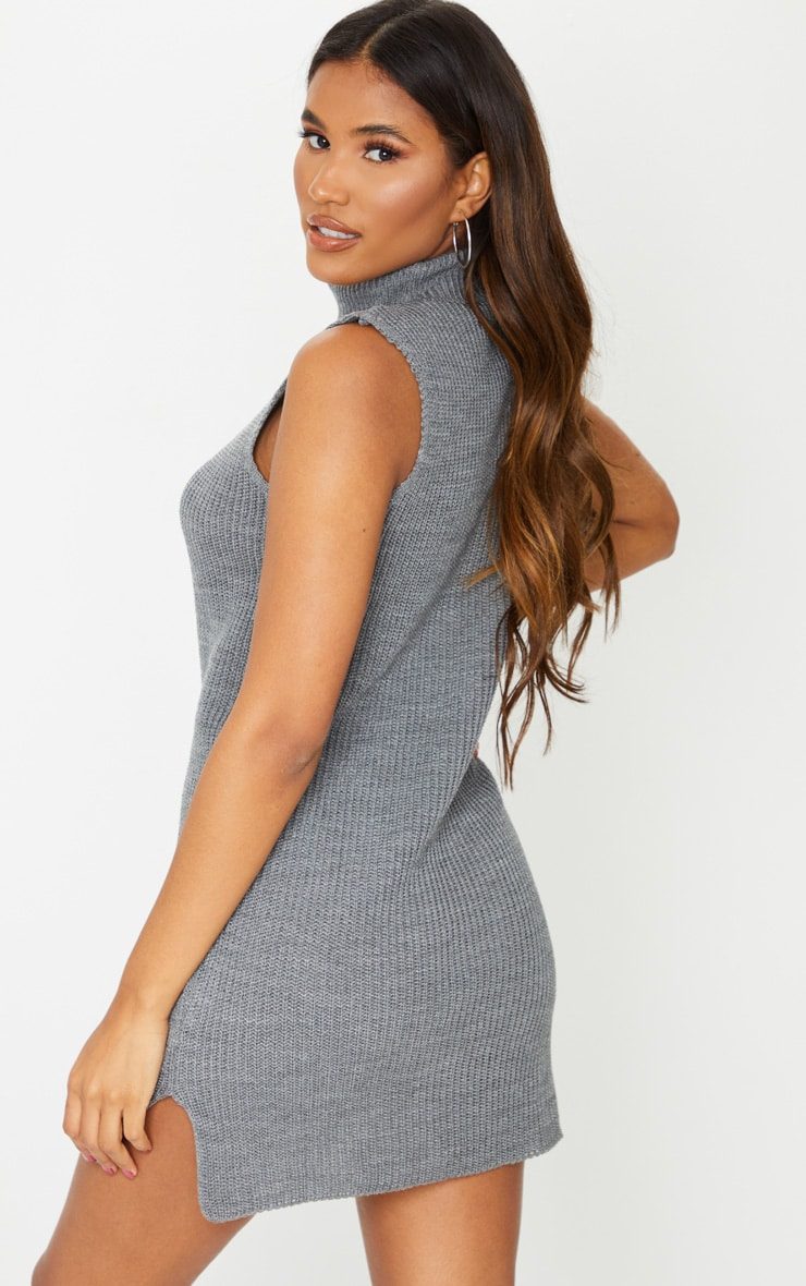 Grey Turtle Neck Side Split Sweater Dress 2