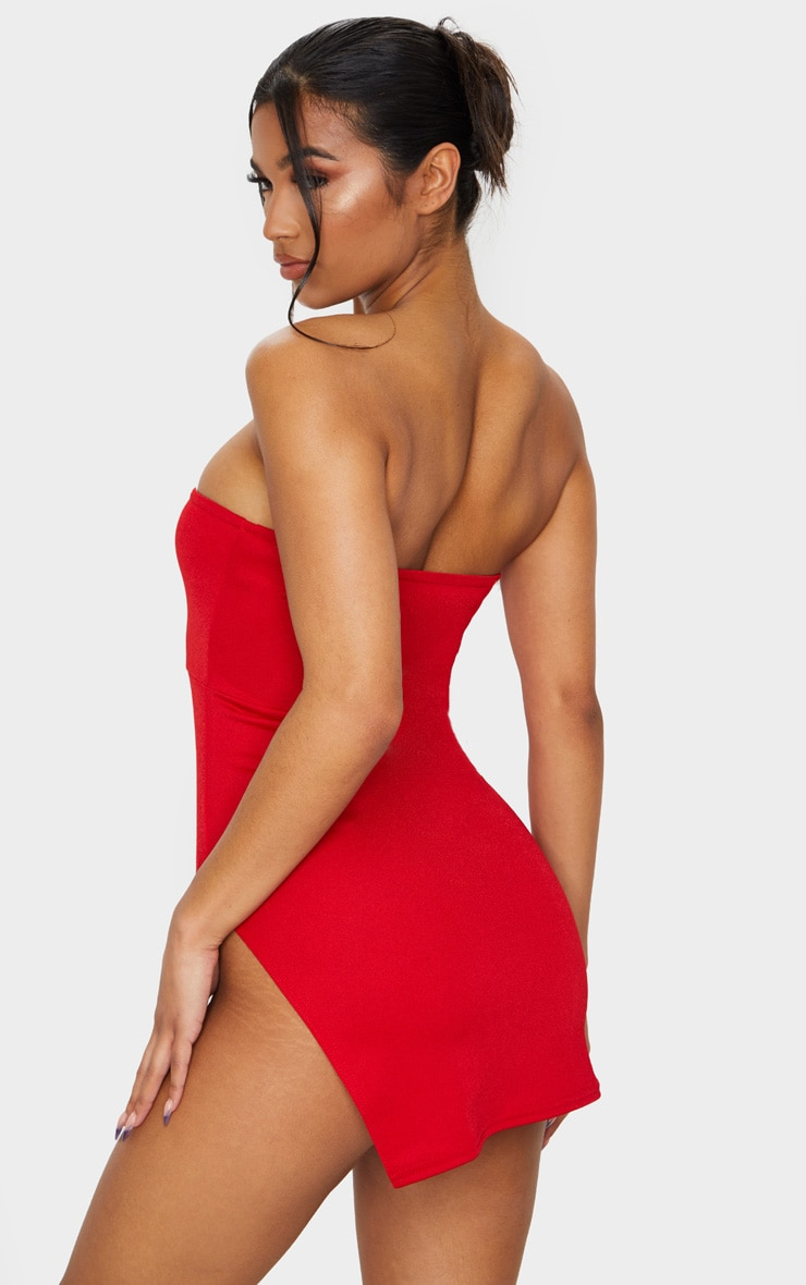 Red Crepe Split Side Bandeau Bodycon Dress 2