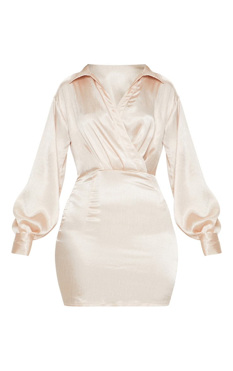 Champagne Pleated Satin Shirt Style Bodycon Dress 3