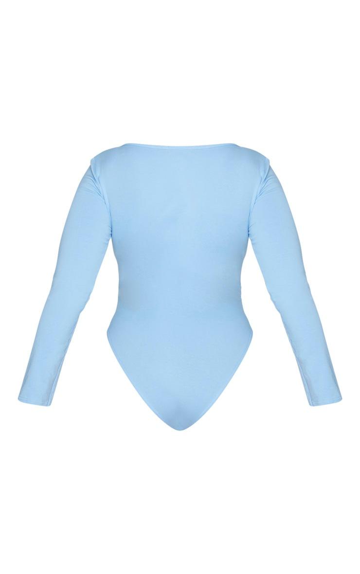 Plus Dusty Blue Cotton Square Neck Bodysuit 6