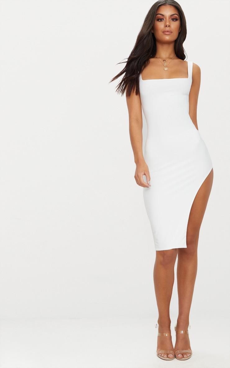 White Double Layer Slinky Square Neck Extreme Split Midi Dress 4
